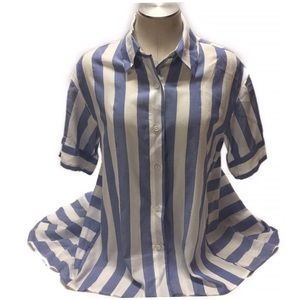 Vince Camuto Flare Tunic Top Awning Stripe SZ XS